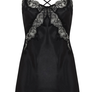 MELANIE SATIN AND LACE CHEMISE BLACK 6-16 200AED