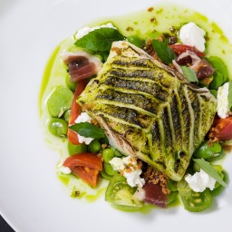 Cod, broad beans, goat's curd, heritage tomato1