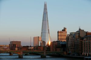 The Shard in London as seen at dusk.