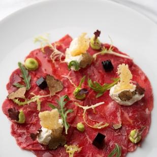 Carpaccio di Manzo (Beef Capaccio, parmesean mousse, aged balsamic aspic)jpg