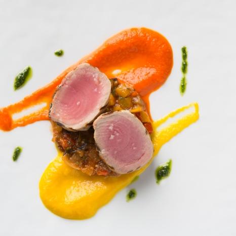 Tonna Scottato, Caponata di Verdure in Agrodolce (Grilled Sea Tuna, Caponate pepper sauce) s