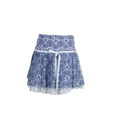 Ermanno Scervino_ Junior Blue Floral Print Pleated Skirt_ 10 Yrs_ AED 515