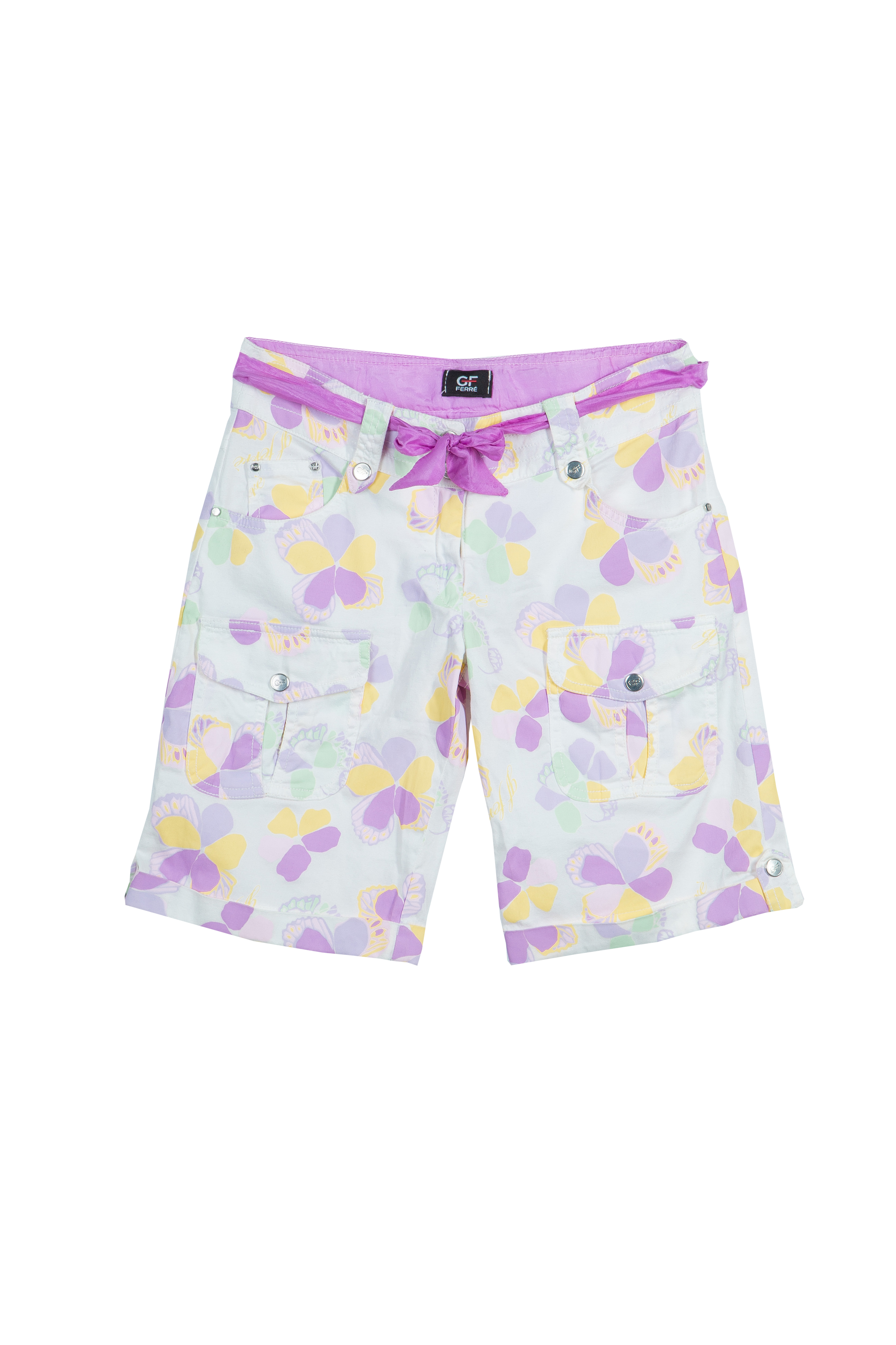 GF Ferre_ Floral Print Belted Bermuda Shorts_ 11 to12 Yrs_ AED337