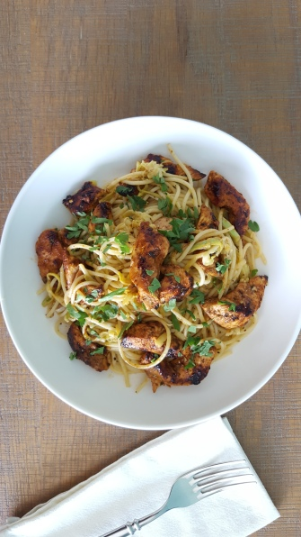 Peruvian Chicken and Lemon Garlic Zucchini Pasta