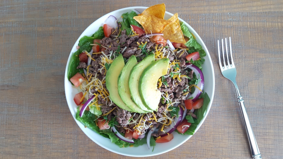 Lean Ground Beef Taco Salad with Avocado and a Lime Vinaigrette