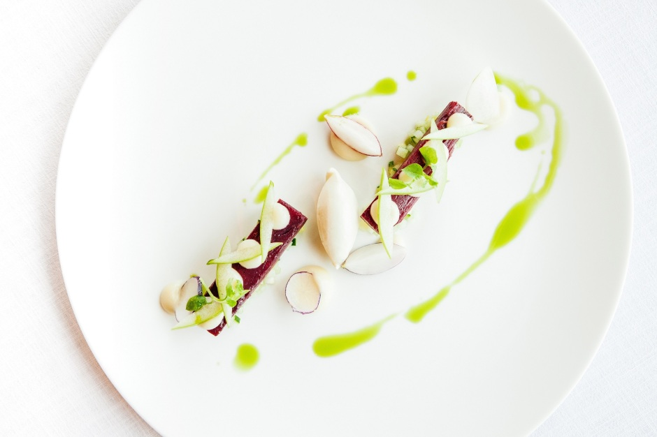 Home Smoked Mackerel with Radish, Apple, Tarragon and Amalfi Lemon - Market menu at At.mosphere, Burj Khalifa